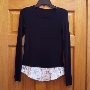 BAILEY 44 BLACK L/S LACE TRIM SWEATER TOP SIZE SMA